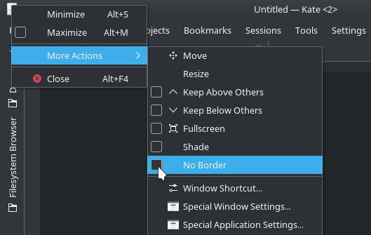 KDE screenshot: More Actions - No Border